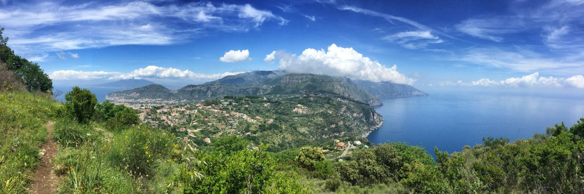 Amalfi Coast Hiking stage 5 combined view of the Amalfi Coast, the Gulf of Naples and Vesuvius