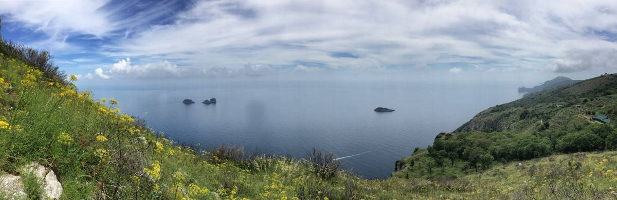 View from stage 5 The Li Galli Islands and Capri in panorama