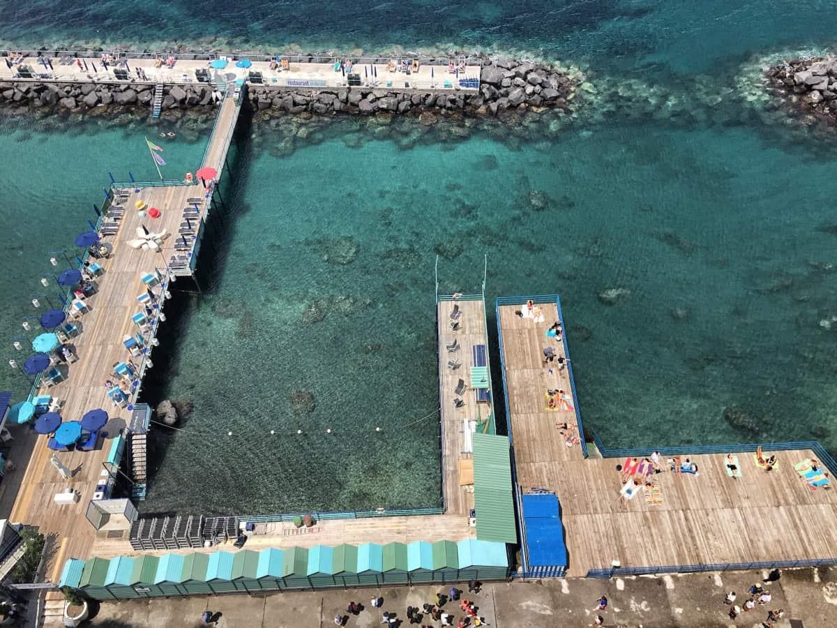 Beach baths off the steep coast of Sorrento