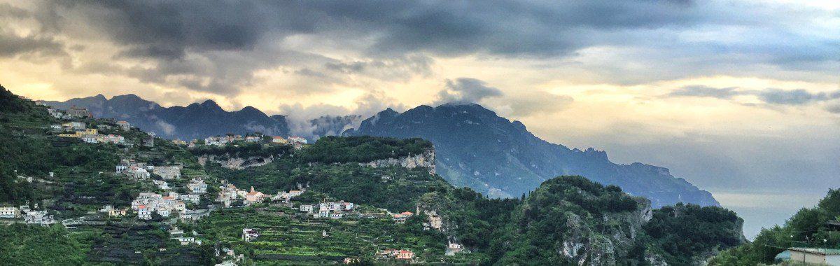 Hiking along the Amalfi Coast, stage 2 evening mood, view from Pogerola