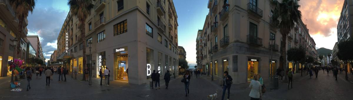 salerno pedestrian zone at nightfall
